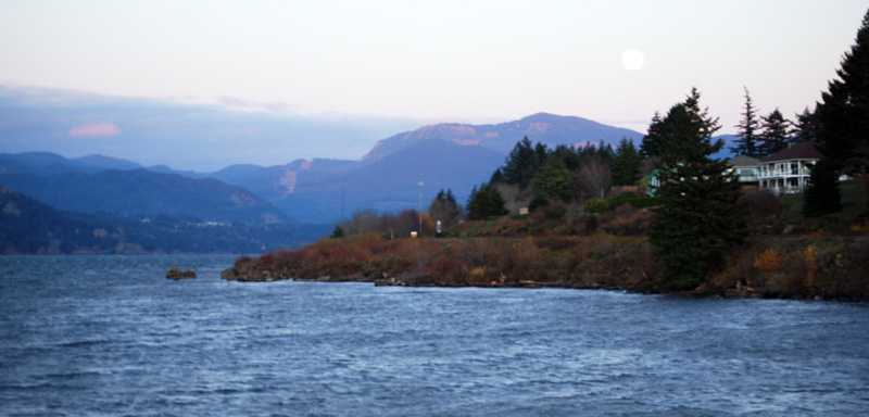 Columbia River Gorge with full moon